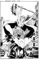 Supergirl BatWoman inked by ericalannelson