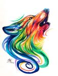 Rainbow Wolf Design by Lucky978