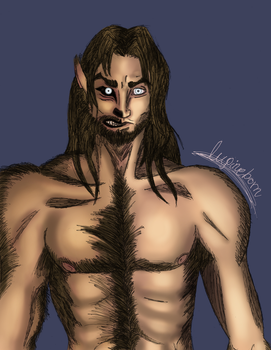 Werewolf OC doodle - human/beast form by Lupineborn