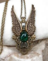 Dark Angel Pendant Gold Green1 by Aranwen