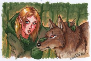 Valeria and a wolf by CrescentMoon