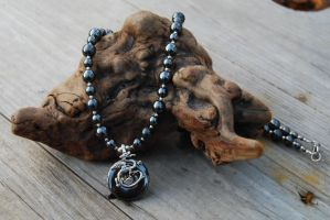 Hematite Dragon Necklace by DreamingDragonDesign