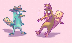 Doof the Playtpus and Perry by Pink-Shimmer