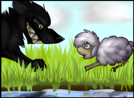 The wolf and the sheep. by Claireounette74