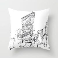 NYC Flatiron Building Sketch Throw Pillow / Cover by crystaland