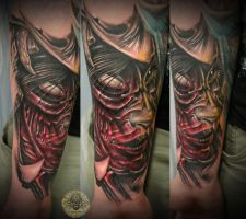 bloody Demon face nice girl by 2Face-Tattoo