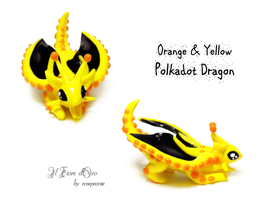 Yellow and orange Polkadot dragon 2 by rosepeonie