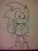 Quick Sonic Pen Sketch by JenHedgehog
