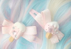 sweet ice cream hair clips by ElizabethKathryn