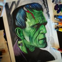 Frankenstein in watercolor and ink. by APetrie74