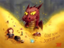 Bilbo and Smaug by tenkai-yayes