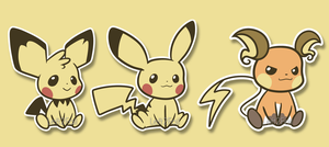 Pokemon Stickers: Chu Set by Left2Fail