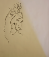 Scar and Simba sketch in prog. by LittlePuffin