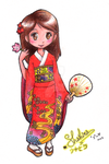 girl in red kimono by witchpowerlove