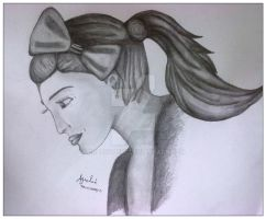 Girl with a ponytail and a bow. by crazy4demi