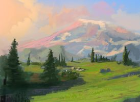 An absurdly kitschy painting of Mount Rainier by CodyOP