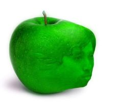 funny apple face by umat