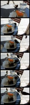 Sparrows stealing my cake! by Sysirauta
