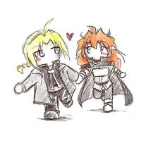 Chibis - Ed and Lina by kra