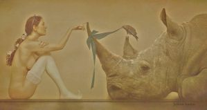 The lady and the rhino by Seraphina-Song