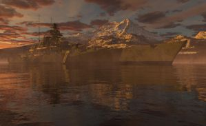 Tirpitz in the evening by SwissAdA