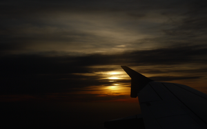 Sunset on airplane by lebreton