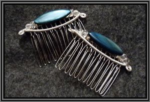 Peacock Blue Hair Combs 2.0 by dLeighJewelry