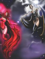 Scarlet Witch vs Storm by JessLewis