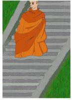 Monk on the stairs by CarMadMike