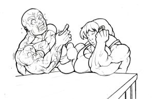 more traditional art ''armwrestling nap'' by ayanamifan