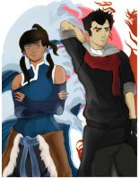 Mako and Korra Fanart for SacAnime Cover/Badge by Banitastic