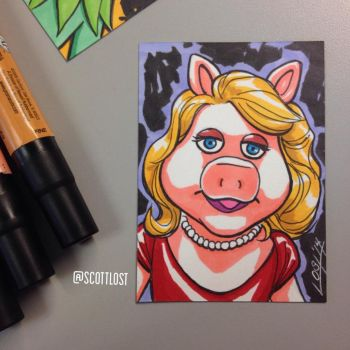 Miss Piggy sketchcard by Scott-Lost