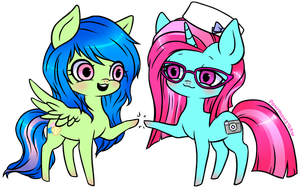 Sea Blossom and Pixel Perfect by ponymonster