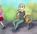 sitting in front of the school by Skayka