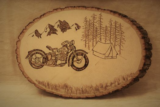 Woodburned Harley by Chiropterix-esque