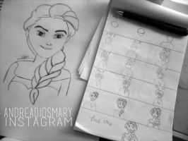 Steps to draw Elsa by Anne's Drawings. by AndreaDiosmary