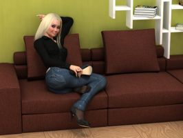 Teasing in jeans and nylons by Rometheus