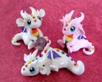 Baby Rainbow Dragons by DragonsAndBeasties