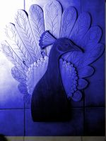 peacock carving blue tint1 by braindeadmystuff