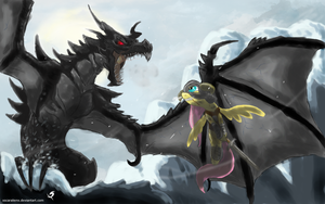 Dovashy against Alduin by xscaralienx
