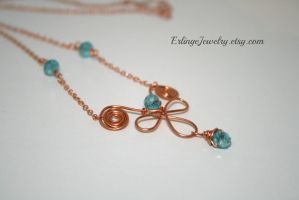Copper wire wrapped necklace by Linuziux