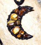 Tiger's eye Moon Necklace by MoonLitCreations