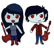 Marceline and Marshall Lee by katios