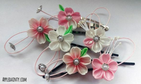 Cherry Blossom Kanzashi Pins by AppleDainty
