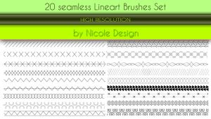 20 Seamless Lineart Brushes Set by noema-13