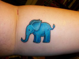 Big Blue Elephant tattoo by ThatNanda