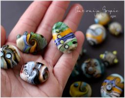 Yellow-green-blue lampwork glass beads 2 by Faeriedivine