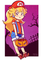 Princess Peach Trick or Treat by Skellytune