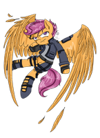 Scootaloo Flight Attacker (Commission) by CartoonOwl