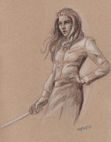 Lady with Sword, sketch by jackieocean